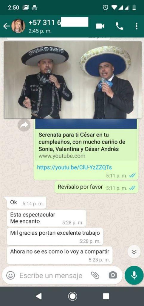 Reseña serenata online whatsapp